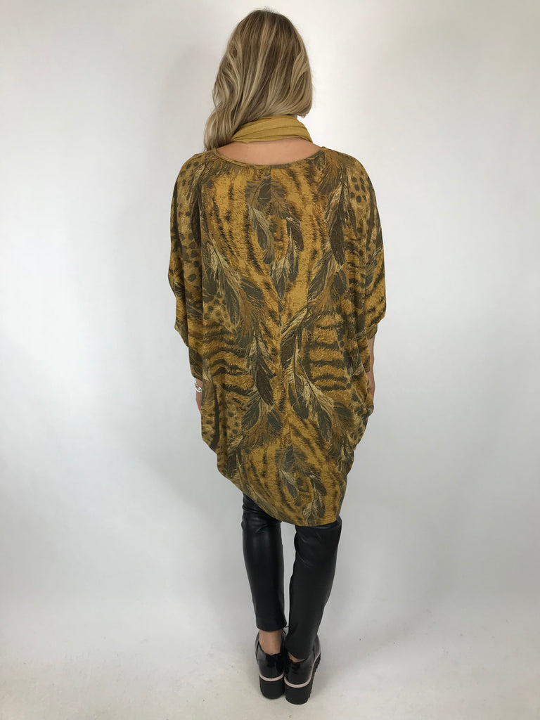 Lagenlook Made in Italy Feather Scarf Top in Mustard. code 5437