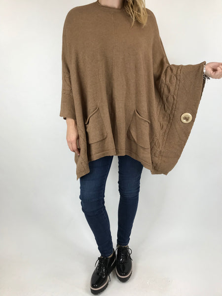 Lagenlook Button Side Poncho Jumper in Camel. code 5922