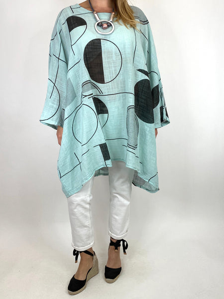 Lagenlook Camilla Patterned Top in Mint. code 91007