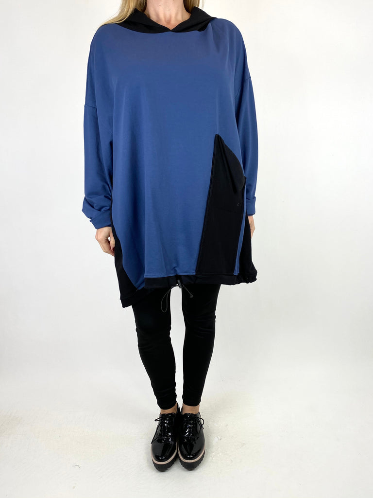 Lagenlook Kate Pocket Hood Top in Denim. code 911488 - Lagenlook Clothing UK