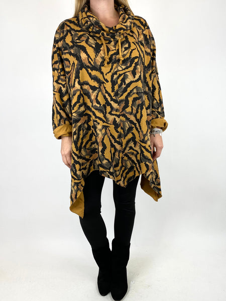 Lagenlook Animal Print Cowl Top in Mustard. code 50002