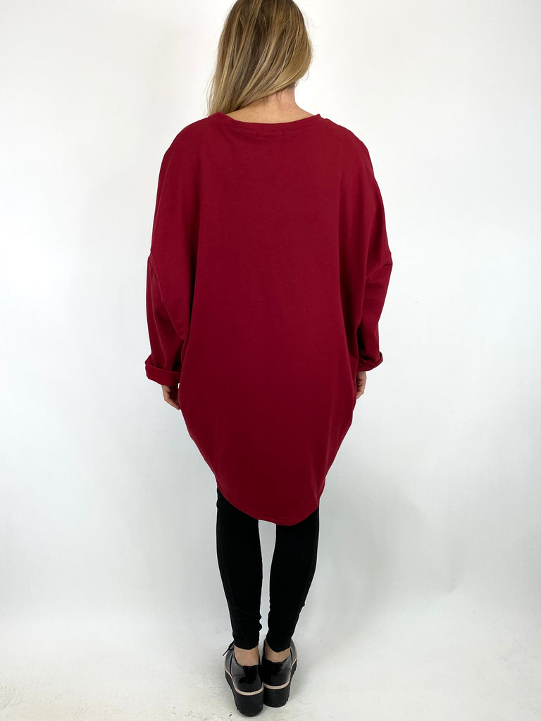 Lagenlook Pip Paint Splash Zip Cotton Sweatshirt Top in Wine. code 91181