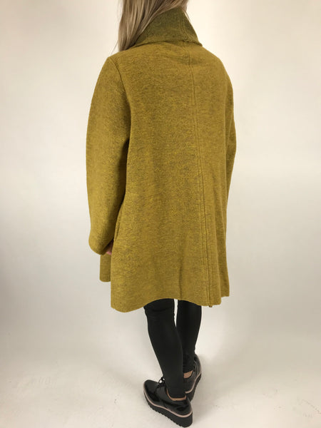 Lagenlook Button neck Wool Coat in Mustard. code 4945