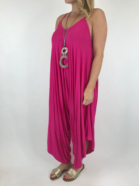 Lagenlook Ruby Jersey Jumpsuit in Fuchsia. code 1540