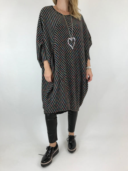 Lagenlook Rainbow Dot Tunic in Charcoal Grey. code 6079