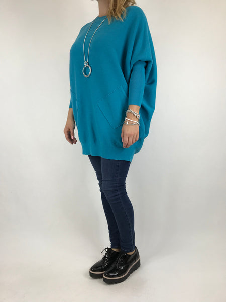 Lagenlook Piper Ribbed Plait Back Jumper in Teal .code 5933