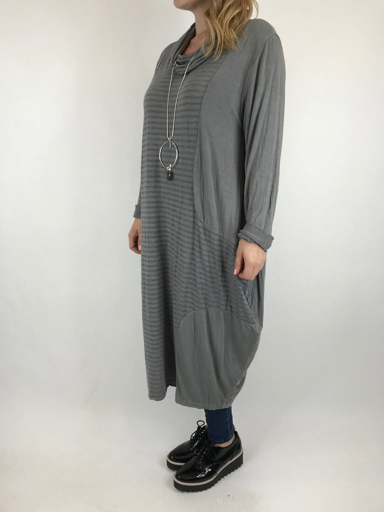 Lagenlook Stripe Cowl Neck in Grey. code 5982