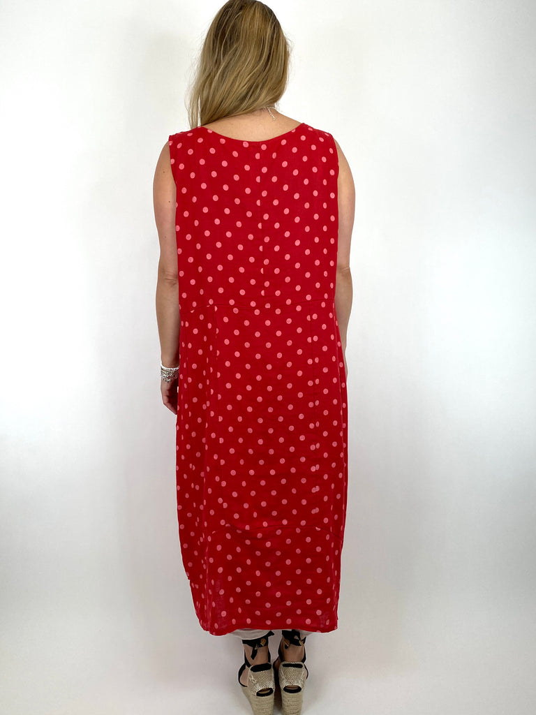 Lagenlook Taylor Linen Polka Dot Square neck tunic in Red. code 8262PD - Lagenlook Clothing UK