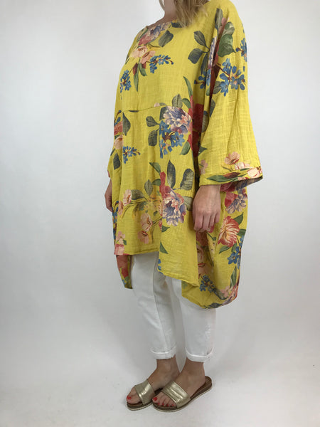 Lagenlook Santo Cotton Flower  Poncho Oversize in Yellow. Code 18253