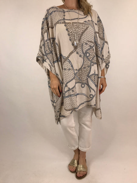 56c52d0adf454 Lagenlook Chain Print Poncho Top in Cream. code 7288 ...
