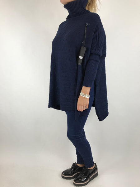 Lagenlook Beth Poncho Cable Textured Jumper in Navy. code 5106