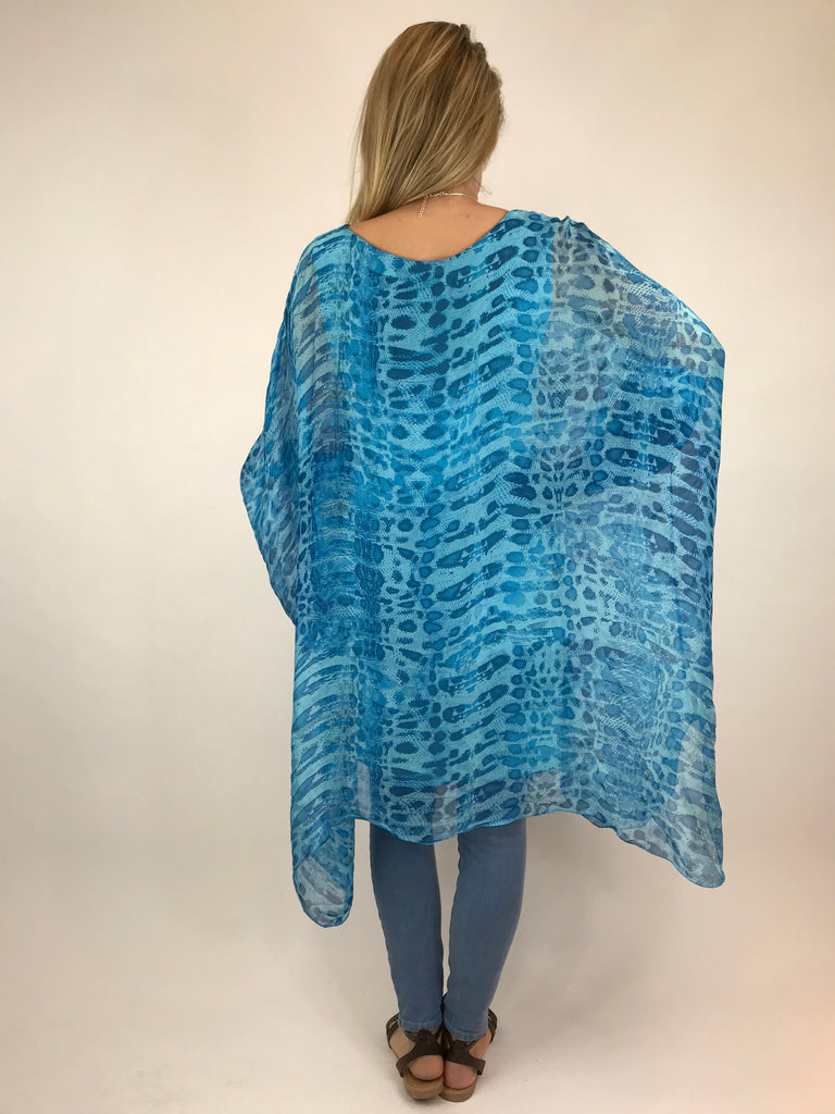 Lagenlook Snake Print Silk Poncho Top in Aqua Blue. code 1727s