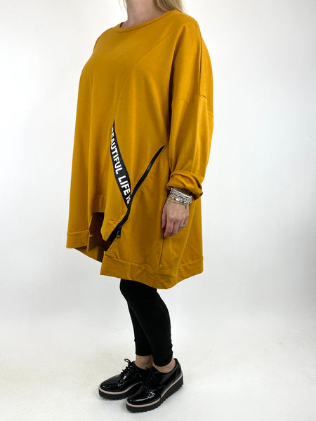 Lagenlook Langdon Tape Sweatshirt in Mustard. code 91169