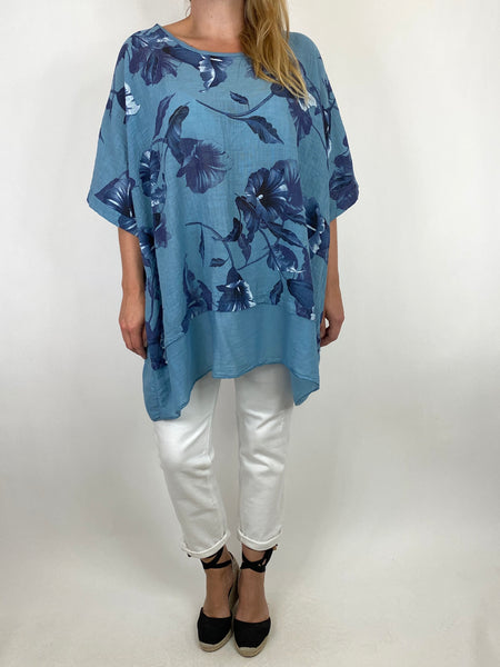 Lagenlook Ami Flower Cotton Top in Denim. code 89425