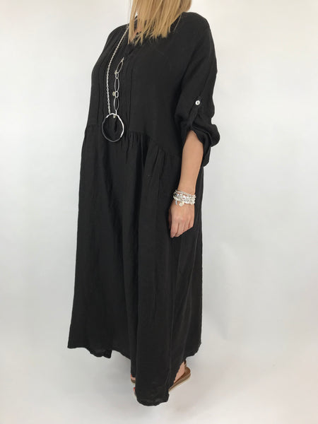 Lagenlook Amy Pintuck Linen Tunic in Black.code 9824