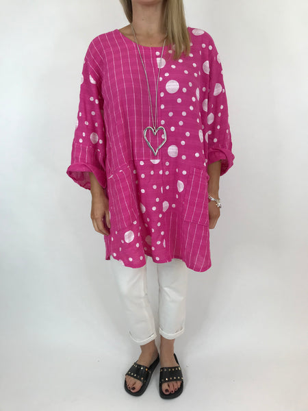 Lagenlook Milly Cotton Dot and Stripe Top in Fuchsia Pink. code 90670