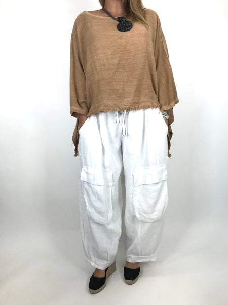 Lagenlook Raw Edge Short Linen layering top in Tan. code 02246
