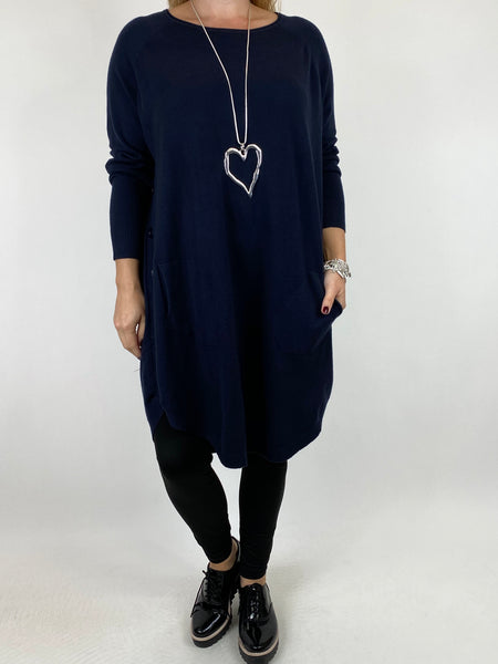 Lagenlook Amelie Button Side Jumper in Navy. code 2560 - Lagenlook Clothing UK
