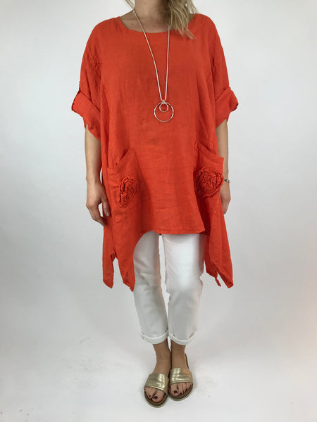 e997d18a96fb7 Lagenlook Ellen Swirl Flower Linen in Orange. code 008 ...
