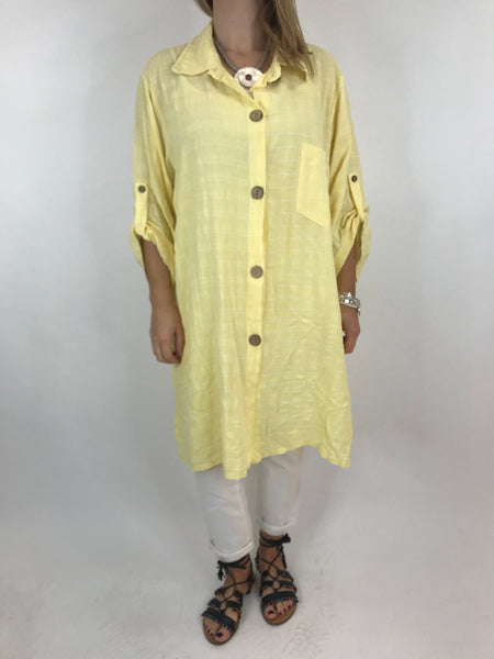 Lagenlook Dele Cotton Shirt in Lemon. Code 90873