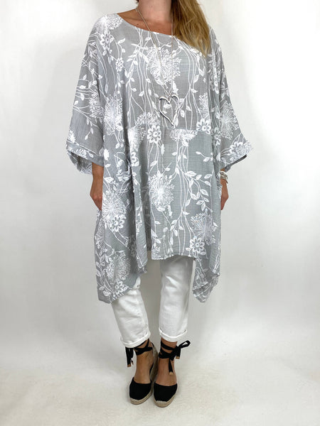 Lagenlook Rachel Flower Top In Light Grey. code 6363