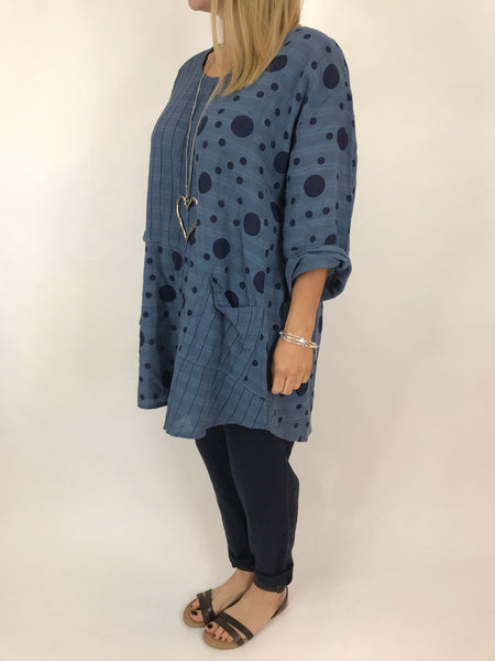 Lagenlook Milly Cotton Dot and Stripe Top in Denim .code 90670