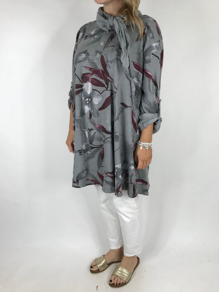 Lagenlook Flower Scarf Top in grey. code 2300