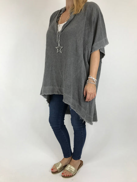 Lagenlook Bella Cotton V-Neck in Charcoal. code 0200