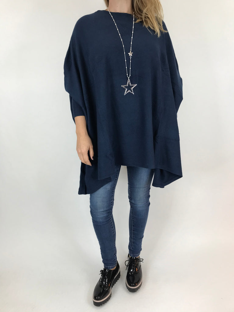 Lagenlook Calia Star Poncho Knit in Navy. code 47352