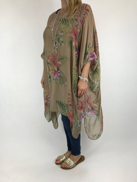 Lagenlook Silk Flower Float Top in Camel. code 1727