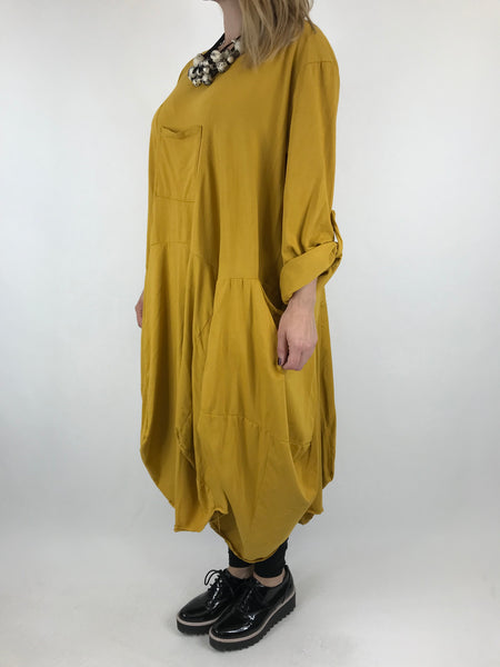 Lagenlook Cotton Blend Parachute shaped hem in Mustard. code 9480 - Lagenlook Clothing UK