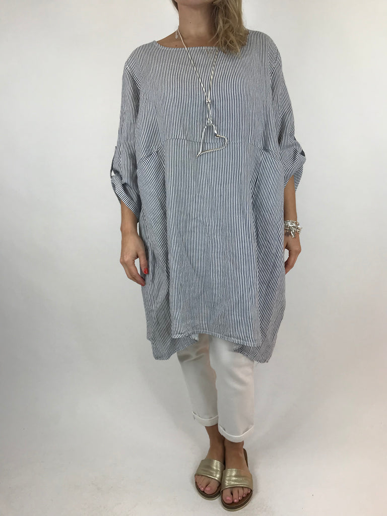 Lagenlook Maggie Stripe Linen Top in White. code 638c