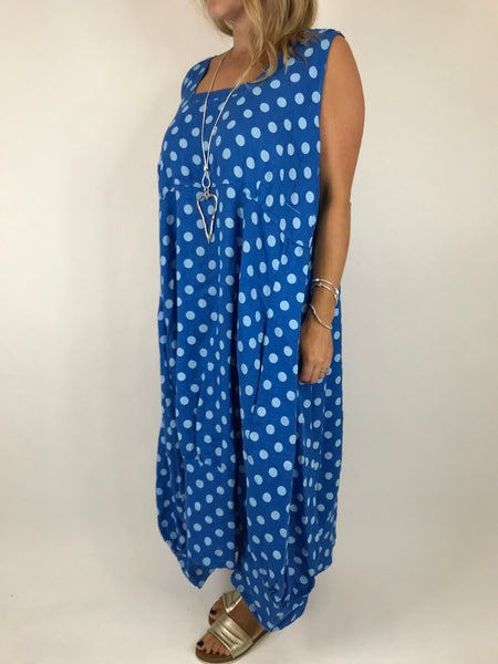 Lagenlook Lucia Dot Linen Dress in Royal Blue. Code 5231