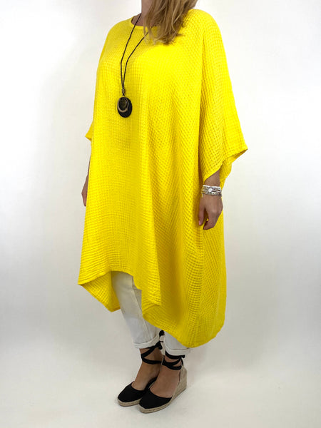 Lagenlook Nancy Cotton Waffle Necklace Top in Yellow. Code 8550 - Lagenlook Clothing UK