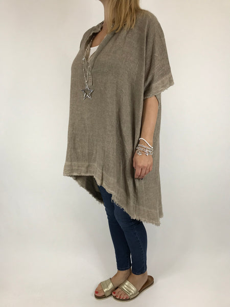 Lagenlook Bella Cotton V-Neck in Mocha. code 0200