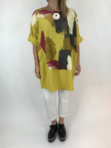 Lagenlook New Paint Splatter Top in Yellow. code ws9763
