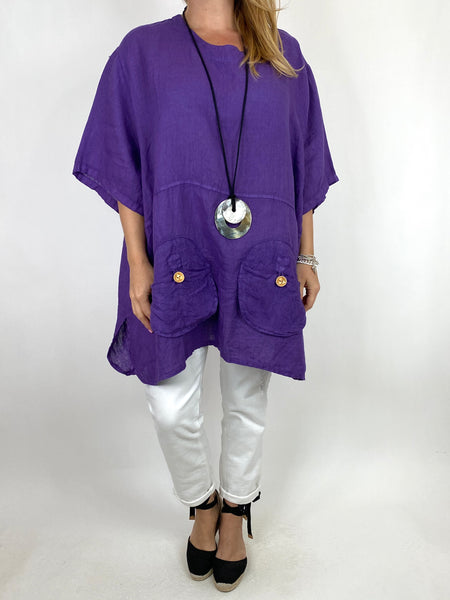 Lagenlook Hurley Pocket Linen top in Purple. code 2122