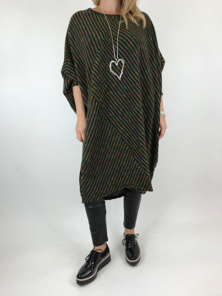 Lagenlook Rainbow Dot Tunic in Green. code 6079