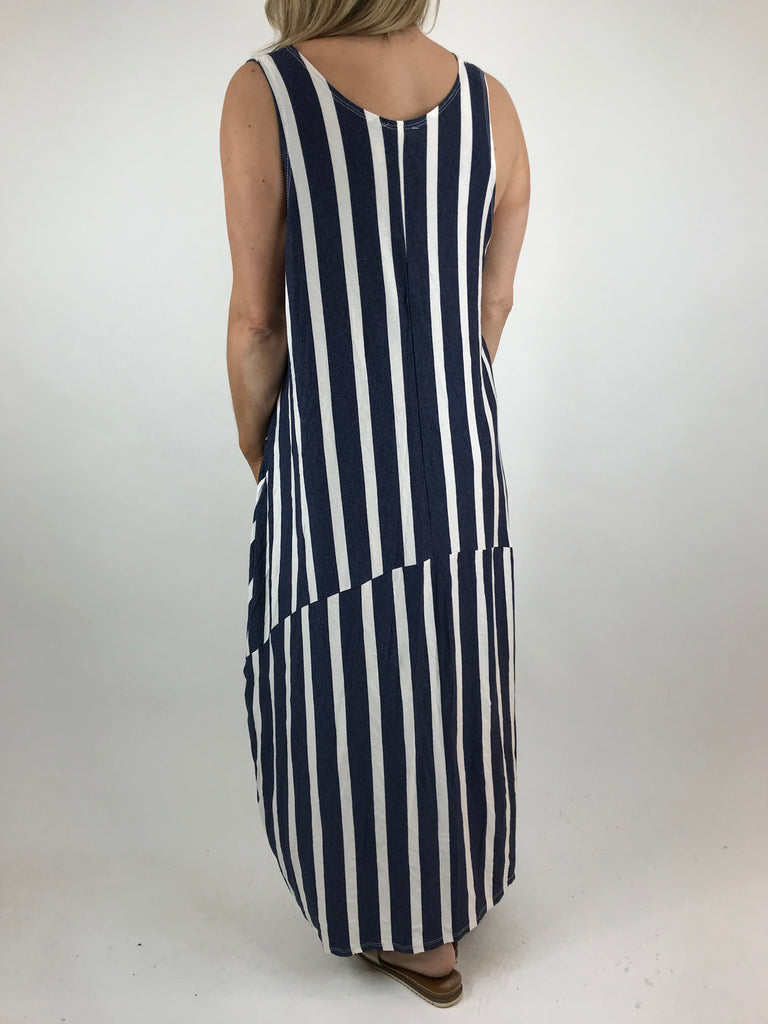lagenlook Stripe Soft Jersey Dress in Denim. Code 1131