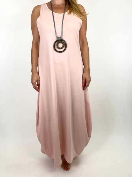 Lagenlook Babs Cotton Plain Tunic Dress in Pale Pink.code 91112 - Lagenlook Clothing UK