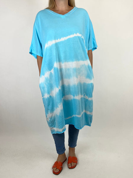 Lagenlook Cara Cotton Mix Tye-Dye V-Neck Top in Aqua. code 6888 - Lagenlook Clothing UK