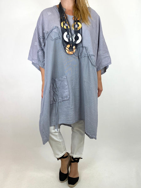 Lagenlook Nelly Twist Front Top in Pale Grey. code 91087