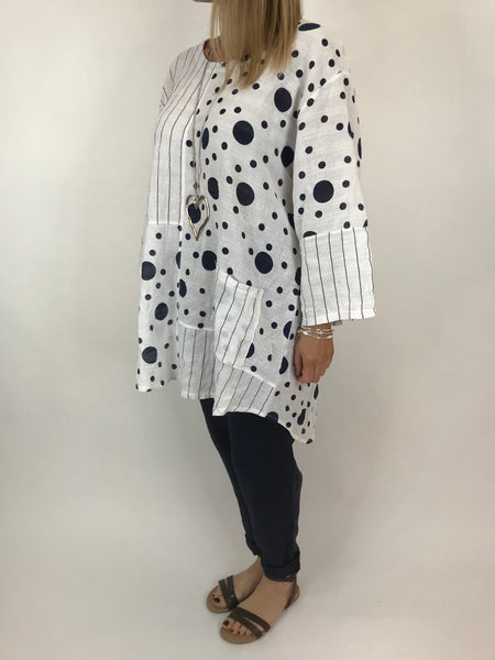 Lagenlook Milly Cotton Dot and Stripe Top in White. code 90670