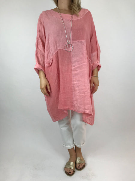 Lagenlook Mia Linen Top in Peach. code 5733