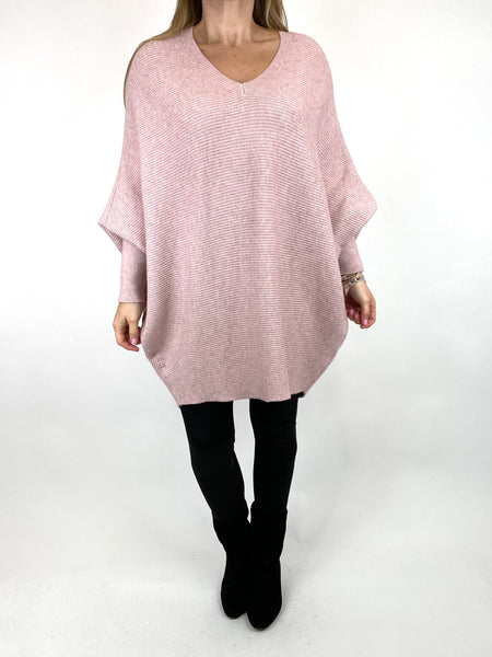 Lagenlook Bamford V-Neck Jumper in Winter Pink. code 5418 - Lagenlook Clothing UK