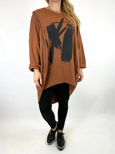 Lagenlook Pip Paint Splash Zip Cotton Sweatshirt Top in Rust. code 91181 - Lagenlook Clothing UK