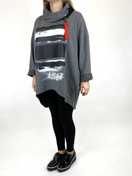 Lagenlook Stripe Paint Hood Top in Charcoal. code 91152 - Lagenlook Clothing UK