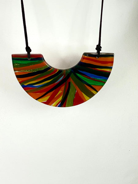 Lagenlook Rainbow Gloss Half Moon Necklace code A1178