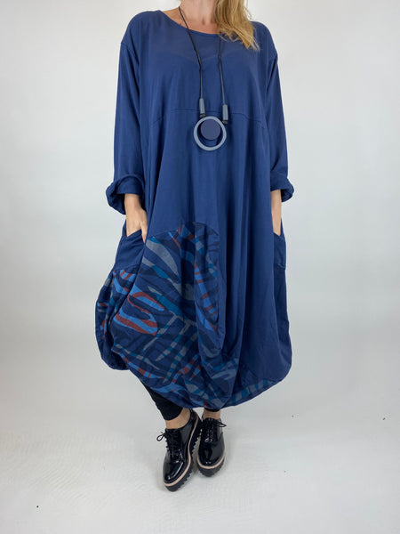 Lagenlook Wave Curve Hem Tunic in Navy. code 9977 - Lagenlook Clothing UK
