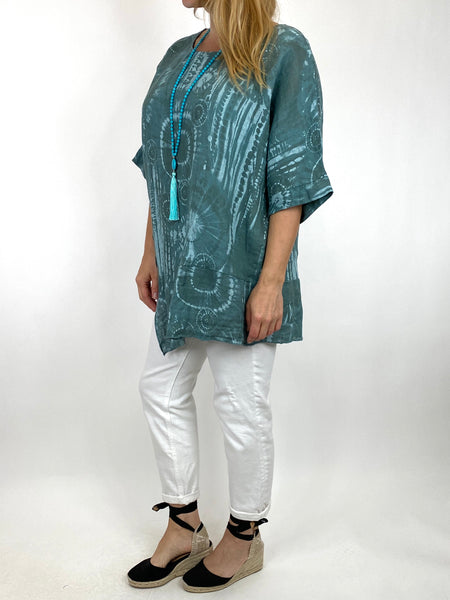 Lagenlook Tye-dye Top in Sage Regular Size. code 6688